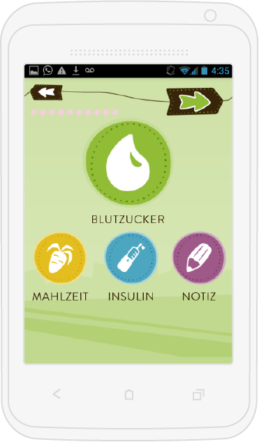 mySugr Junior on android phone with start screen