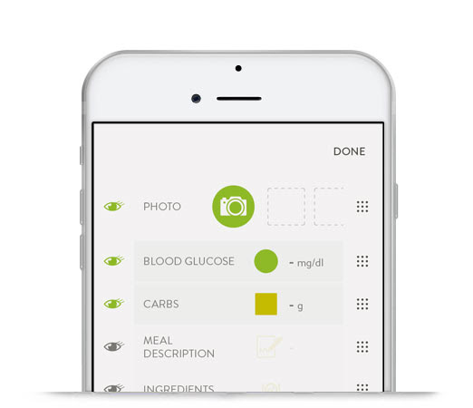 An iPhone with mySugr Logbook 3.0 screen customization