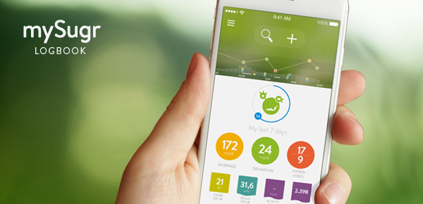 Hand holding a smartphone with mySugr Logbook 3.0