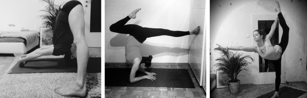 Series of images with Marlis doing yoga poses