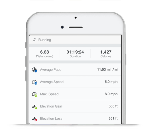 A Runtastic history screenshot