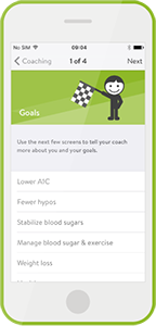 mySugr Coaching screen Goals