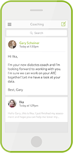 mySugr Coaching screen Messaging