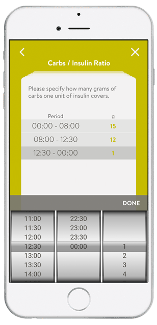 mySugr Bolus Calculator's old scroll wheel design