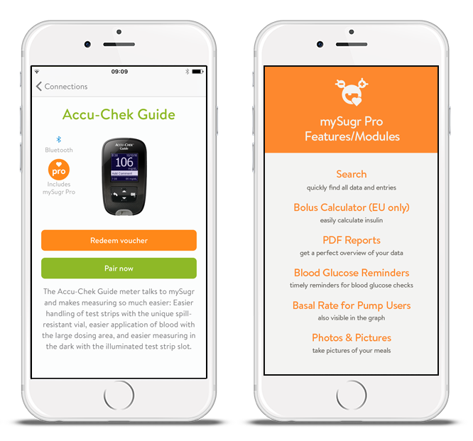 mySugr screens for ordering the Accu-Chek® Guide meter